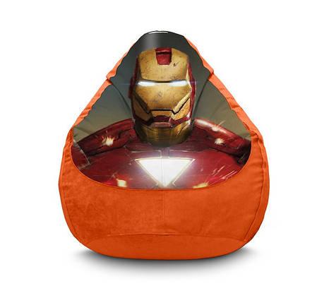 "Кресло мешок груша ""Iron Man. Mask"" Флок, фото 2"