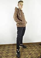 Повседневная мужская толстовка цвета мокко на флисе с капюшоном XL, XXL, 3XL