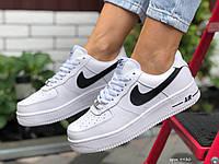 Кроссовки женские зимние Nike Air Force 1 белые, Найк Аир Форс, натуральная кожа, мех, код SD-9930