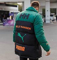Мужская зимняя куртка теплая Puma (пуховик) Helly Hansen зеленая с черным Турция. Живое фото. Чоловіча куртка