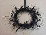 Чорний Вінок на двері з летючими мишами - декор до Хеловіну (Хеллоуїну)., фото 2