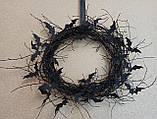 Чорний Вінок на двері з летючими мишами - декор до Хеловіну (Хеллоуїну)., фото 4
