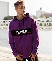 Мужское худи кенгуру с капюшоном Nasa фиолетовое(рефлективное лого) Турция. Живое фото (мужская кофта 3 цвета)