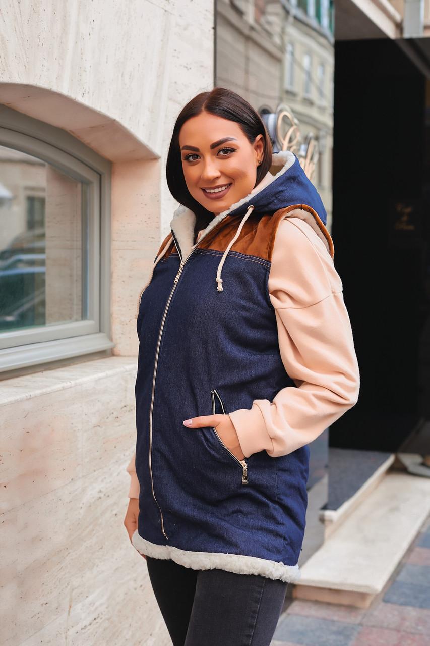 Жіноча тепла джинсова жилетка на хутрі, великі розміри 58-62