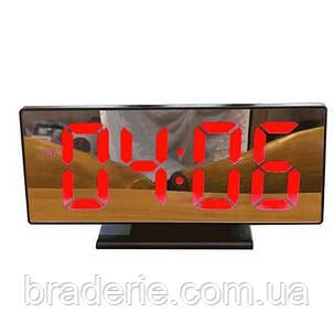 Настольные зеркальные часы DS-3618 с подсветкой красной, фото 2