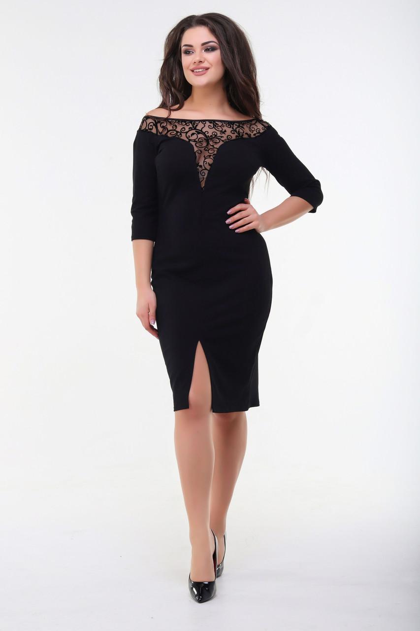 Платье, №98, чёрное, 48-58р.
