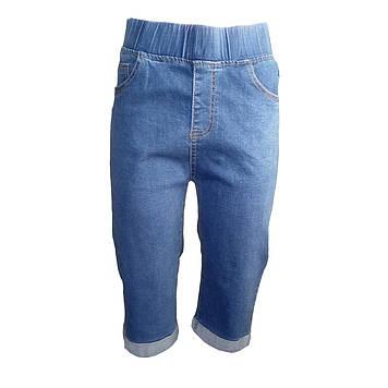 Бриджи женские джинсовые классика с отворотом размер  56