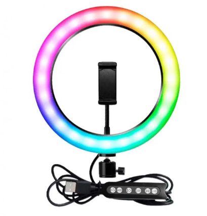 Кольцевая Led лампа с держателем для смартфона MJ33 RGB 33 см, фото 2