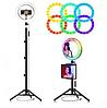 Кольцевая Led лампа с держателем для смартфона MJ33 RGB 33 см, фото 6