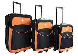 Набір валіз на колесах Bonro Style Чорно-помаранчевий 3 штуки