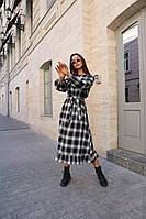 Теплое женское платье в клетку с поясом, фото 1