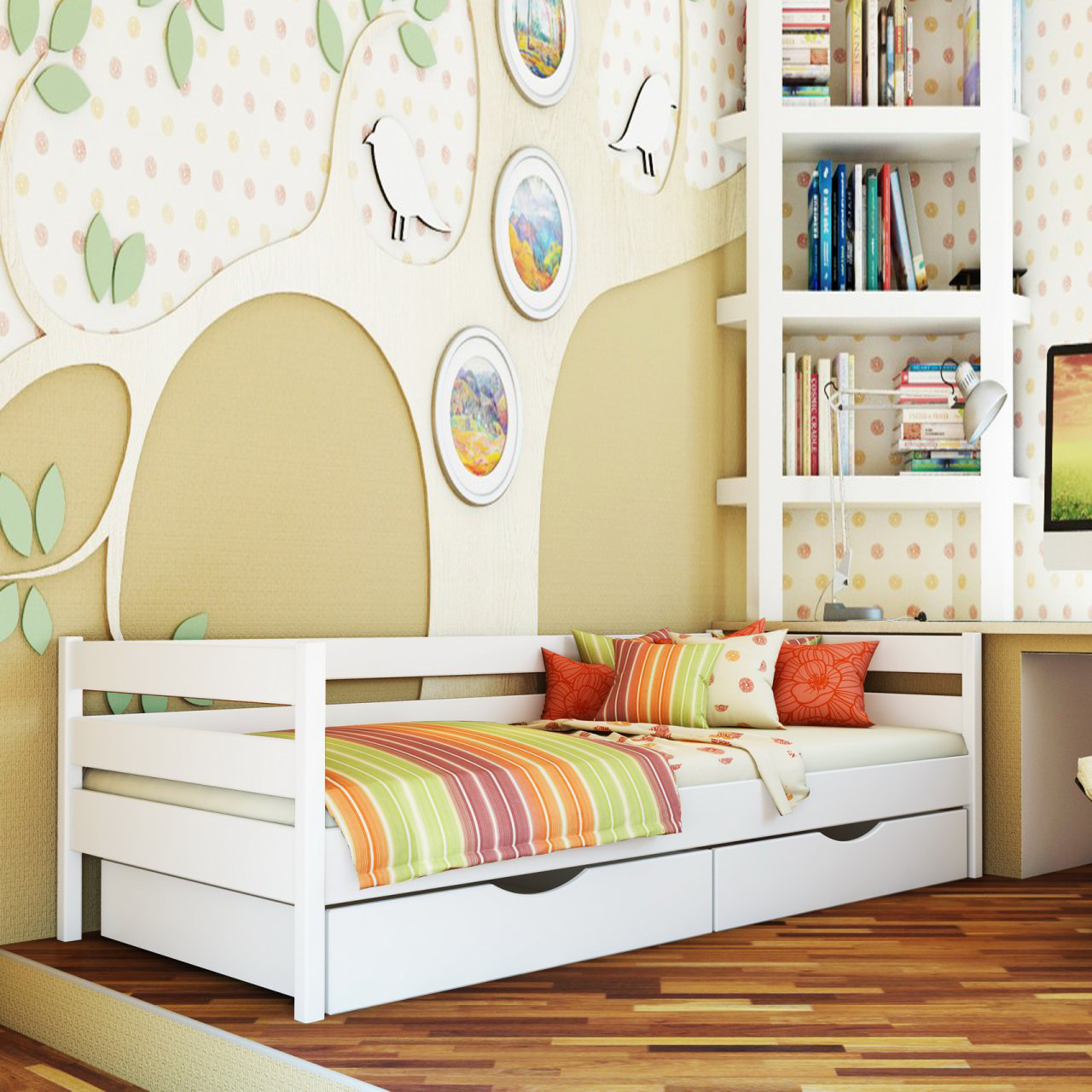 Ліжко дитяче дерев'яне Нота (бук)