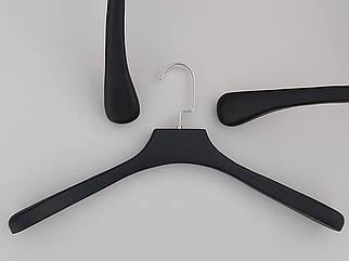 Довжина 45 см. Плічка вішалки тремпеля дерев'яні чорного кольору широкі