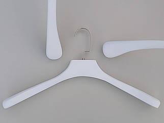 Довжина 45 см. Плічка вішалки тремпеля дерев'яні білого кольору широкі