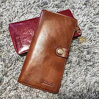 Стильный кожаный женский кошелек на молнии и кнопке