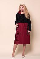 Женское турецкое платье с капюшоном батал. Размеры 54-60. Замеры в описании, фото 1