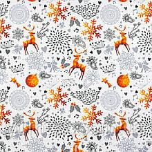 Тканина для штор, скатертин, римських штор, покривал різдвяні олені помаранчеві на білому
