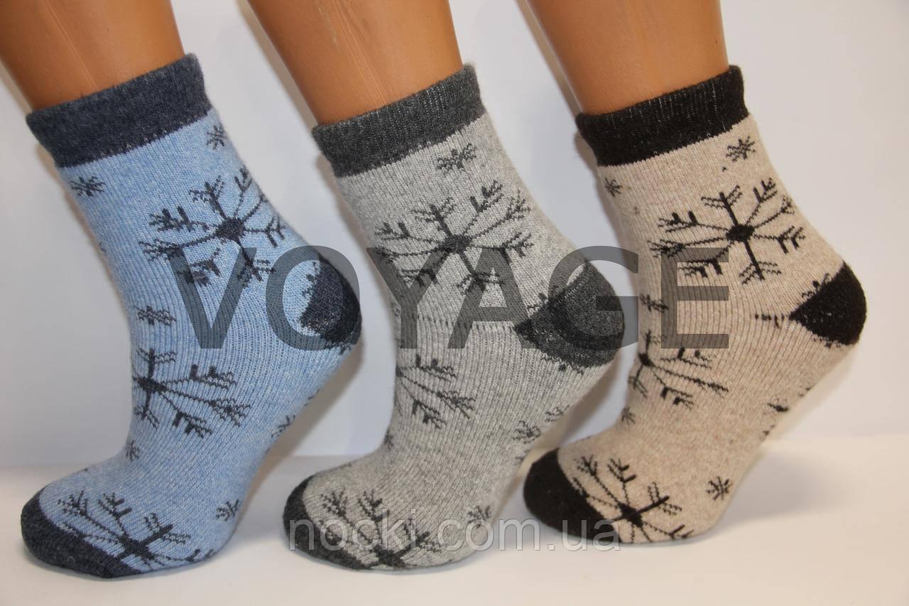 Жіночі шкарпетки шерстяні з махрою НЛ vip великі сніжинки