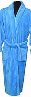 Голубой длинный женский  махровый халат без капюшона