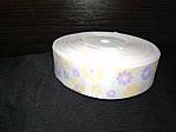 Репсовая лента 2.5см с цветочныйм принтом , фото 3