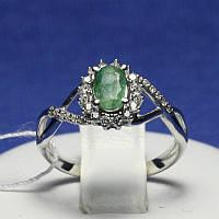 Серебряное кольцо с изумрудом и цирконами Жасмин 1660/9р
