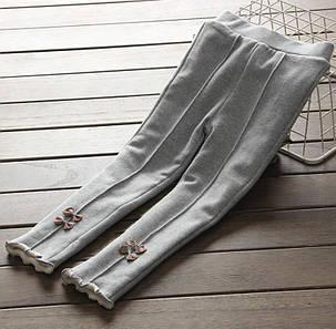Лосины детские на девочку  утепленные на плюше серые 2-5 лет, фото 2