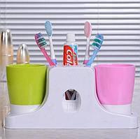 Набор принадлежностей аксессуаров для ванной комнаты с дозатором пасты Happy family Wash gargle suit RY-808., фото 1