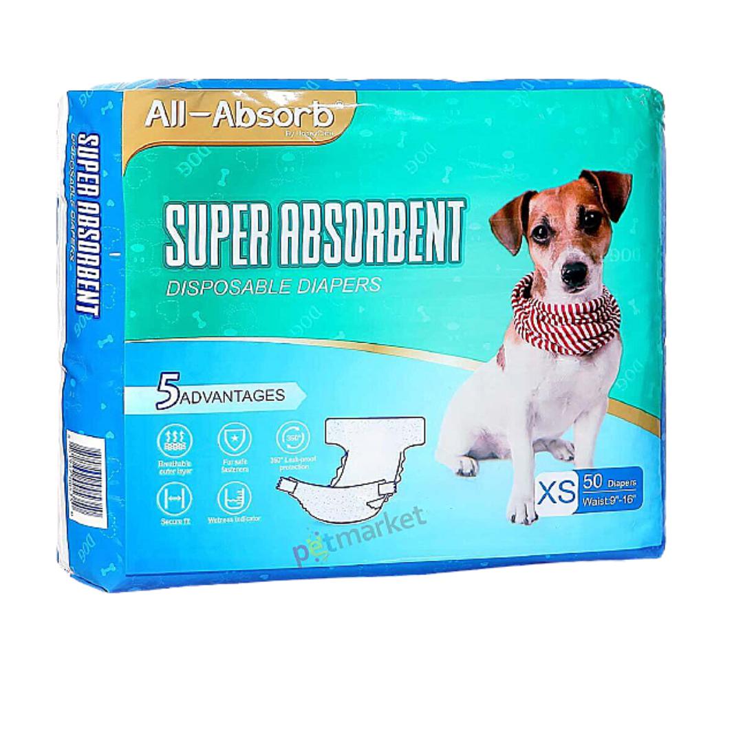 Підгузник для собак All Absorb XS A32 талія 23-41см (50шт)