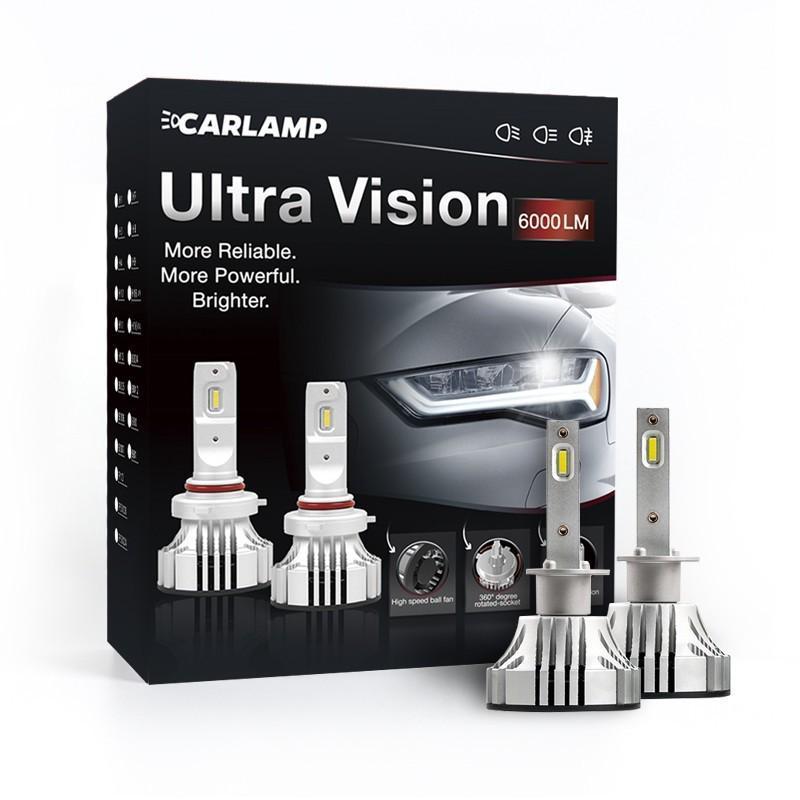 Светодиодные автолампы H1 CARLAMP Ultra Vision Led для авто 6000 Lm 6500 K (UV1)