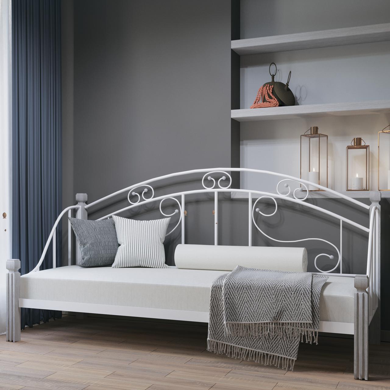 Диван-кровать металлический Орфей на деревянных ножках