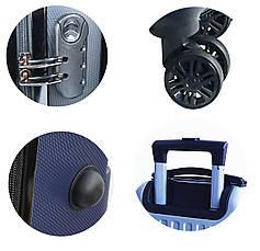 Чемоданы дорожные DMS с тележкой, комплект 4шт S-M-L-XL синий, фото 3