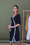 Платье женское миди. Цвет - черный, декорировано голубой люрексовой лентой. Размер: 42-44, 46-48., фото 4