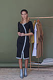 Платье женское миди. Цвет - черный, декорировано голубой люрексовой лентой. Размер: 42-44, 46-48., фото 3