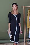 Платье женское миди. Цвет - черный, декорировано голубой люрексовой лентой. Размер: 42-44, 46-48., фото 2