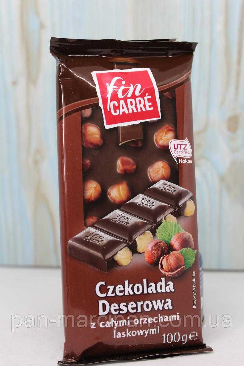 Шоколад Fin Carre чорний з цілим лісовим горіхом 100 г