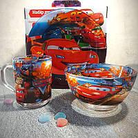 Набор детской стеклянной посуды 3 предмета с мульт-героями (A9551/2) Тачки, Набор детской посуды, разноцветный