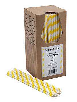 Трубочка бумажная Beaumont 200x6 мм, 250 шт. желто-белая (3877)