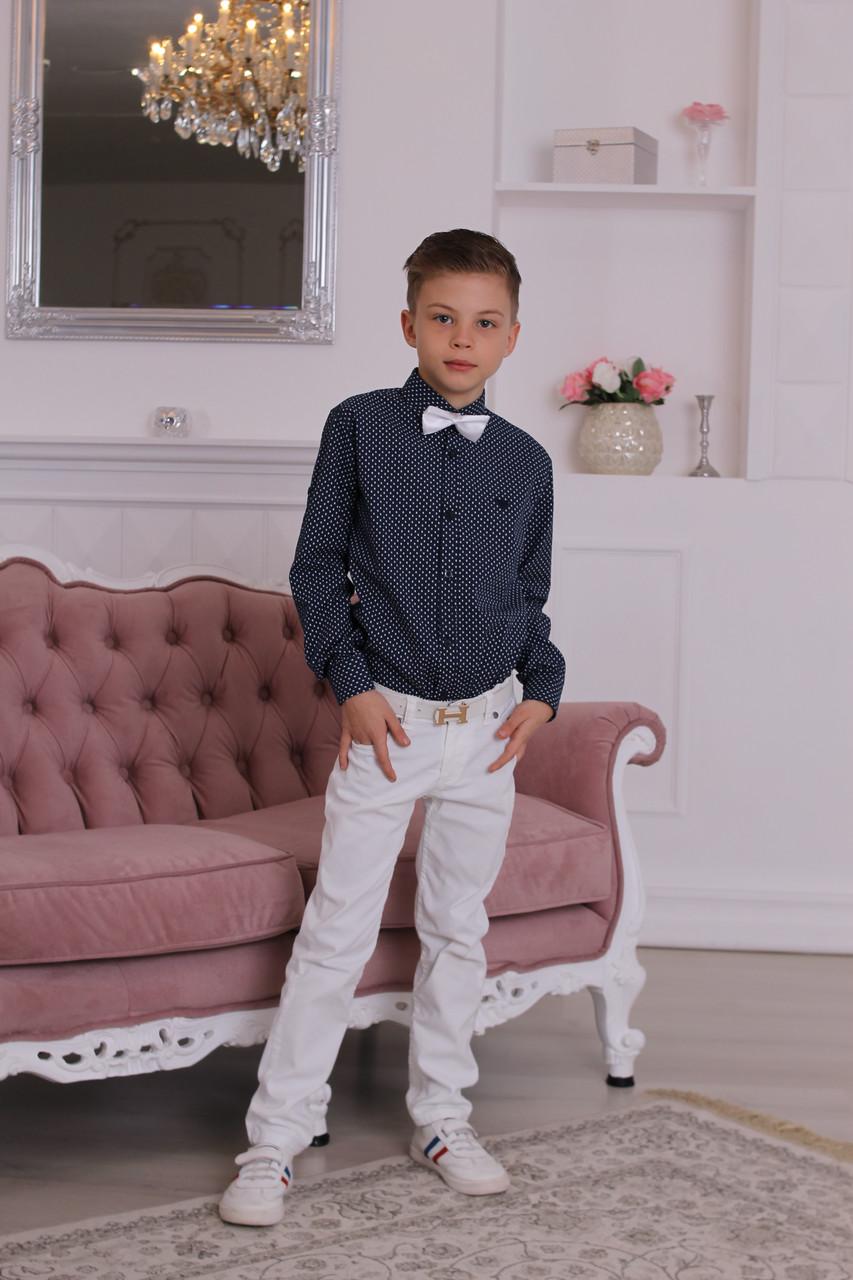 Рубашка Armani черная с белой точкой 7-8 лет