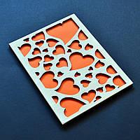 """Деревянная открытка """"Сердца"""". Оригинальный подарок любимому(-ой), девушке, маме, родственнику, жене, мужу"""