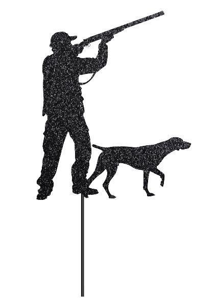 Топпер охотник с собакой | Тематический топпер для охотинка | Топпер в блестках