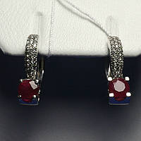 Серебряные сережки с рубином 2236/9р, фото 1