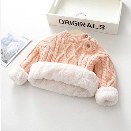 Свитер детский теплый на меху розовый  5 лет, фото 2