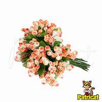 Тычинки Оранжево-белые с сахарными ягодками и листиками 24 шт/уп на проволоке