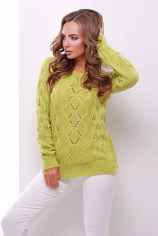 Женский модный вязаный свитер фисташковый, фото 2