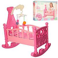 Кроватка для кукол Baby Born и аналогов, YL2000B, с каруселью, длина кроватки 50 см