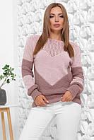 Вязаный женский теплый свитер на зиму двухцветный пудра-фрез