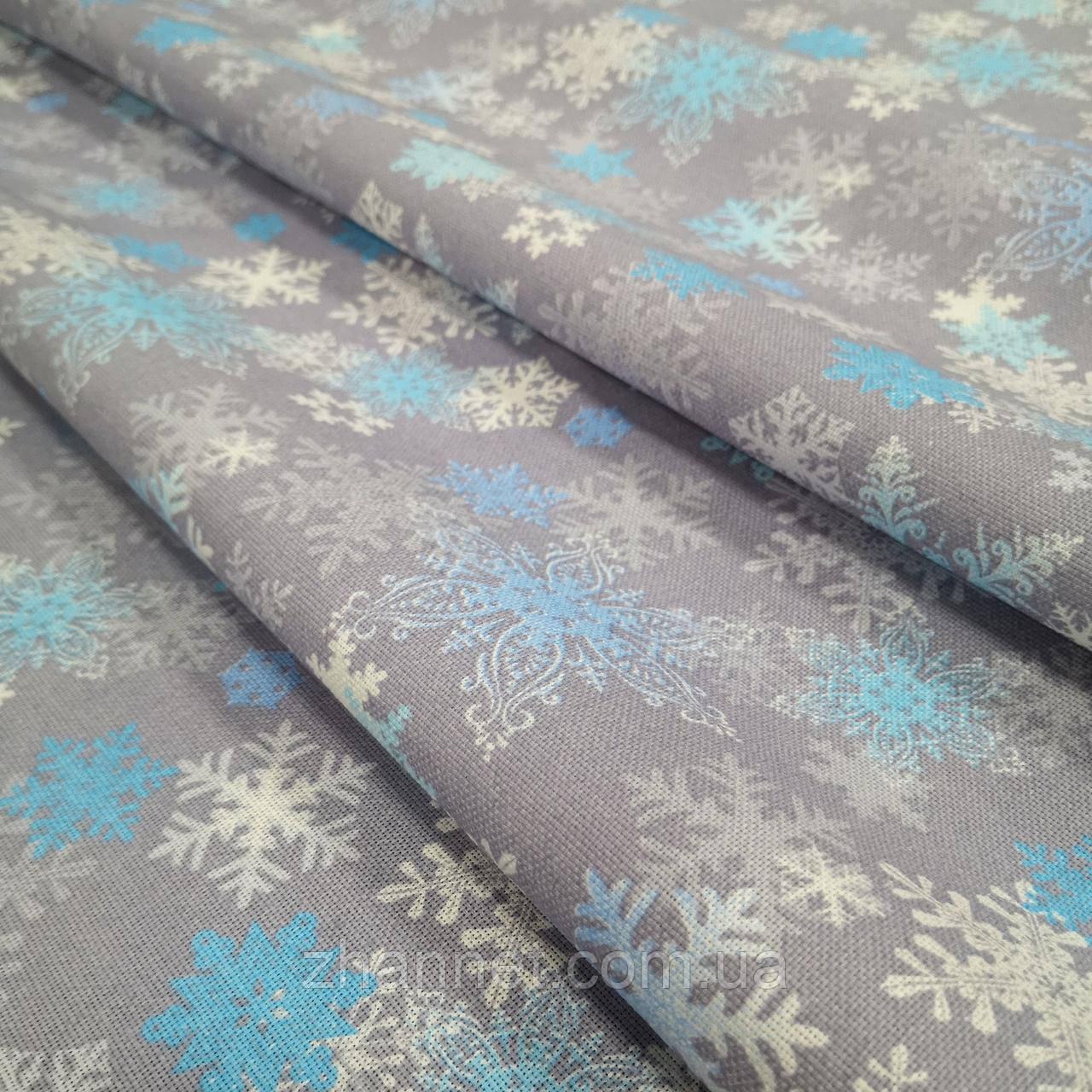 Ткань для новогодней скатерти рогожка Снежинки 150 см