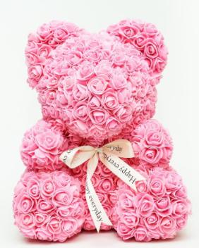 """Мишка из роз 3D, 25см """"Bear Flowers"""" (нежно-розовый) + подароч. упаковка, фото 2"""
