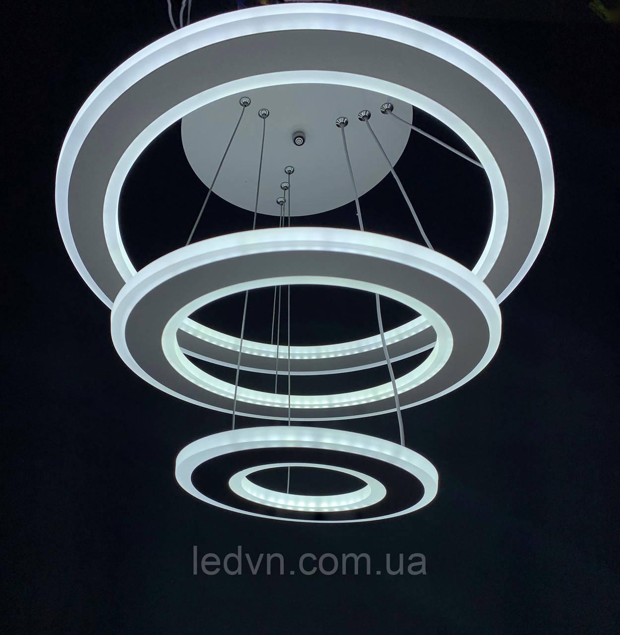 Светодиодная люстра на три белых кольца 130 ватт