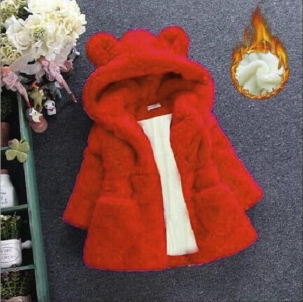 Шубка детская на девочку капюшон с ушками красная  2-6 лет осень- еврозима